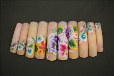 Роспись натуральных ногтей лаком видео