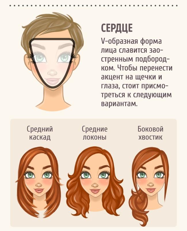 При такой форме лица неудачно смотрятся волосы, зачёсанные назад в тугой хвост.